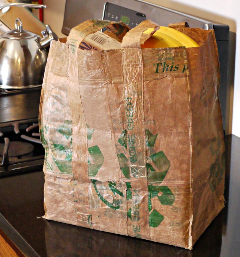 shopping bag made from fused plastic grocery bags
