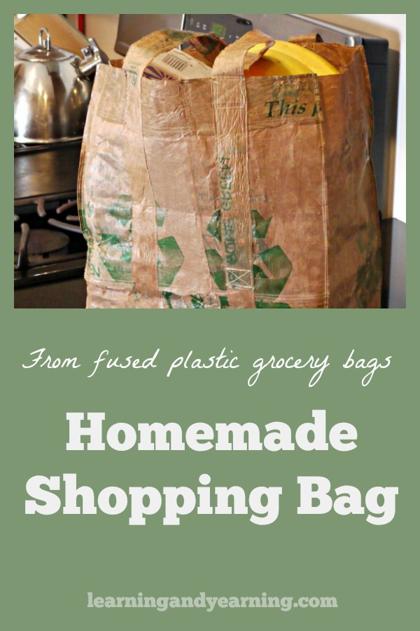 Learn to make your own reusable grocery bags from upcycled fused plastic grocery bags with these instructions. #upcycle #homemade #grocerybag #recycle #zerowaste #ecofriendly