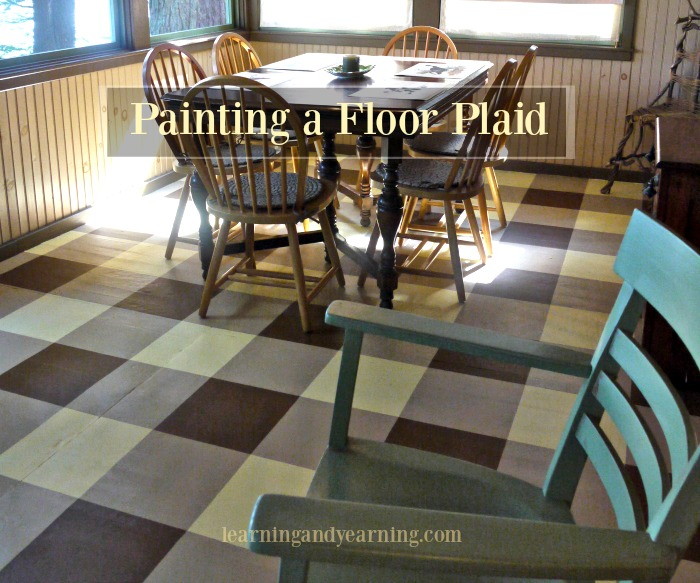 Our porch floor was in dire need of replacement but we didn't have the funds. We decided that painting the floor plaid was a perfect way to hide the imperfections. And it's perfect!!!