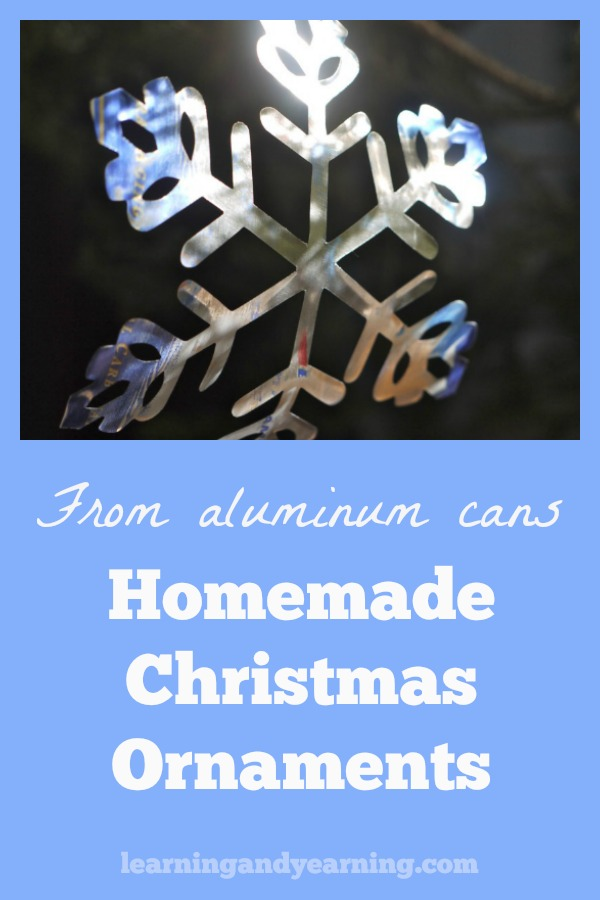 A wonderful way to upcycle aluminum cans is to turn them into beautiful, festive ornaments. And they are easy to make, too! #christmas #ornaments