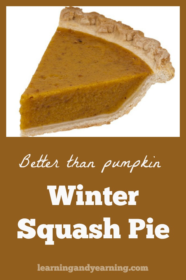 One of my favorite things on earth is pie, and a good old-fashioned pumpkin pie is one of the best. But winter squash pie can easily be substituted for pumpkin and you'll never know the difference!