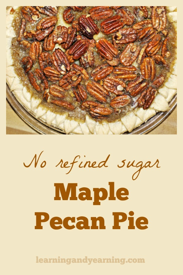 Maple Pecan Pie with no refined sugar is a great way to celebrate any holiday. It's amazingly delicious so make enough for seconds! #pecanpie