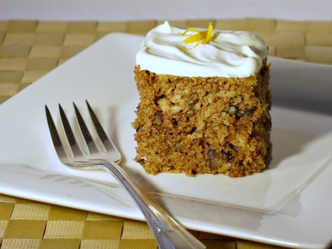 Parsnip cake with Orange Infused Whipped Cream