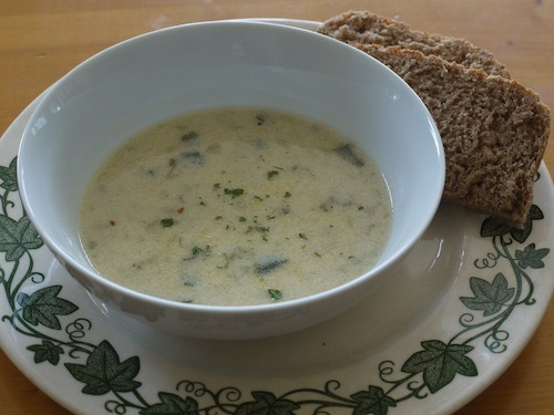 Soup make with ramps (wild leeks)