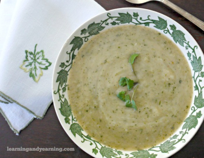 creamy watercress soup made from foraged watercress