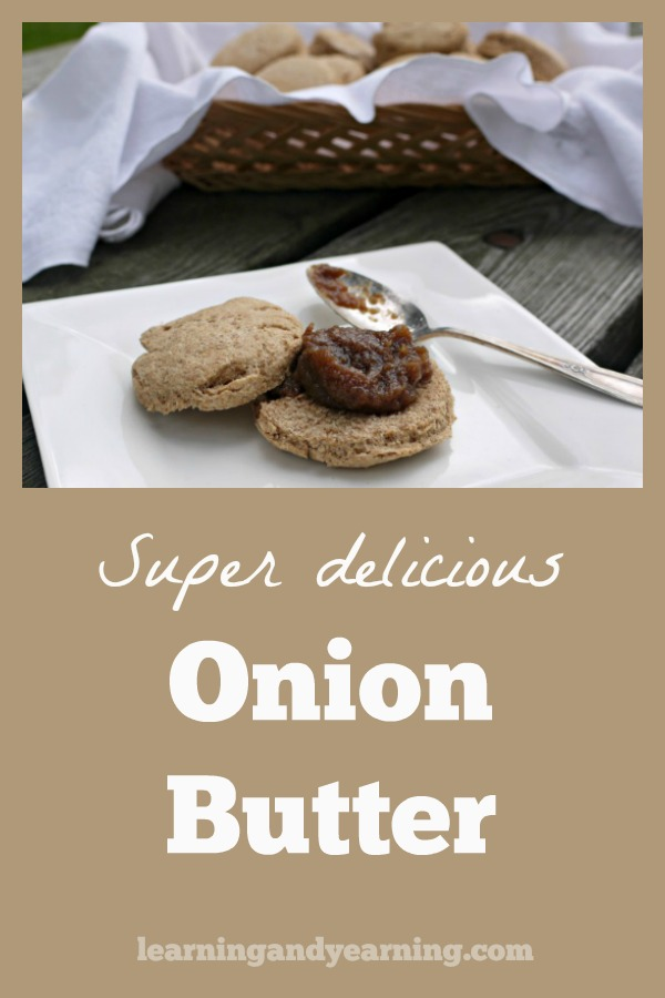 The long, slow cooking turns the onions into a heavenly, oniony-but-sweet onion butter. It's awesome on burgers, biscuits, cooked veggies, and pasta. #realfood #onions #onionbutter