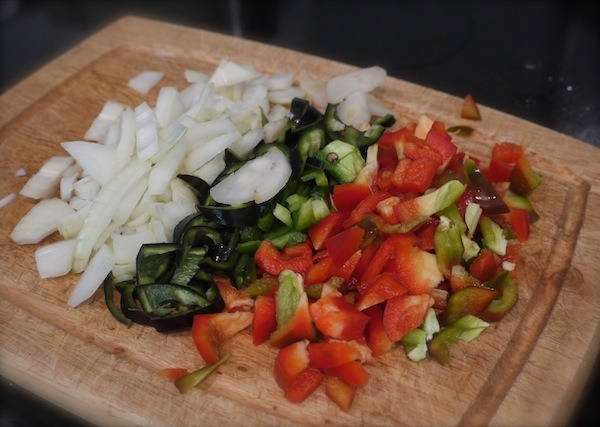 chopped onions and peppers for chicken cacciatore