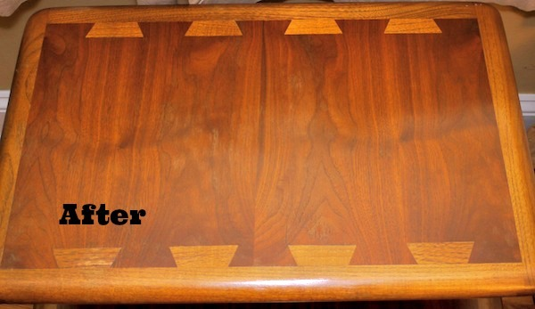 the polish onto your wood furniture  Allow this to sit for a few  minutes  Using another clean cloth  buff the furniture until all residue is  removed. DIY Polish to Restore Wood Furniture