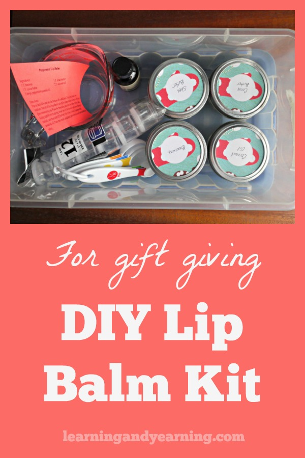 Wondering what to give the crafty women and girls on your list? Why not put together a lip balm kit so that they have everything they need to make their own?! #lipbalm #homemade