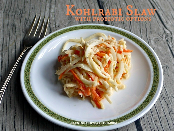 Kohlrabi Slaw is crisp, refreshing, and mild! A great way to use your garden or CSA produce.