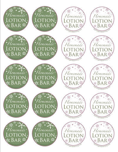 Lotion Bar printables - Christmas design