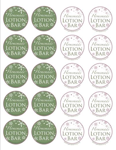 Lotion Bar printables - Christmas design