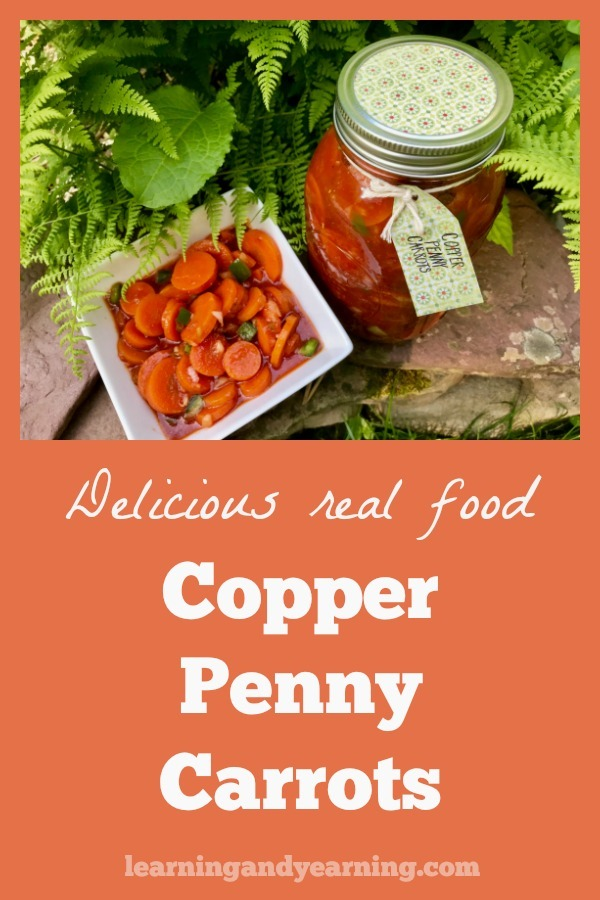 A delicious, real food, cold salad that can be made ahead of time - these Copper Penny Carrots improve with age. #carrots #realfood