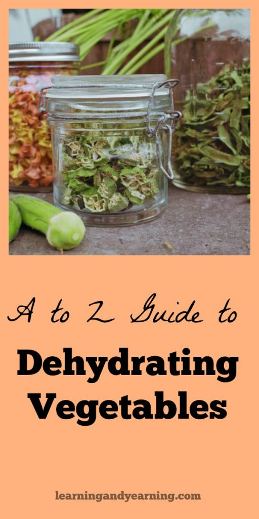 "Learn to dehydrate vegetables with this ""A to Z Guide to Dehydrating Vegetables"" and get some ideas to use your dehydrated vegetables as well. #dehydrating #vegetables #preserve #dehydrated"