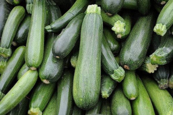 Stall of zucchini on the market