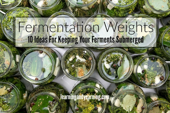 One of the requirements for successful fermentation is to provide an anaerobic environment to prevent oxidation and mold. Keeping your fruits or vegetables completely submerged in brine or natural juices is the way to achieve that. But those darn small pieces of cabbage, or those cranberries just love to float to the top and ruin it all. The solution? Fermentation weights.