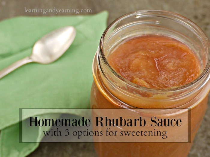 Enjoy homemade rhubarb sauce on yogurt, pancakes, or even pork chops. Be sure to freeze some to have all year!