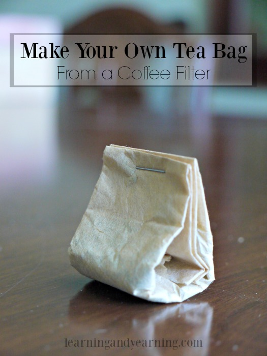 Do you have loose tea or herbs, but no way to strain it? Make your own tea bag from a coffee filter.