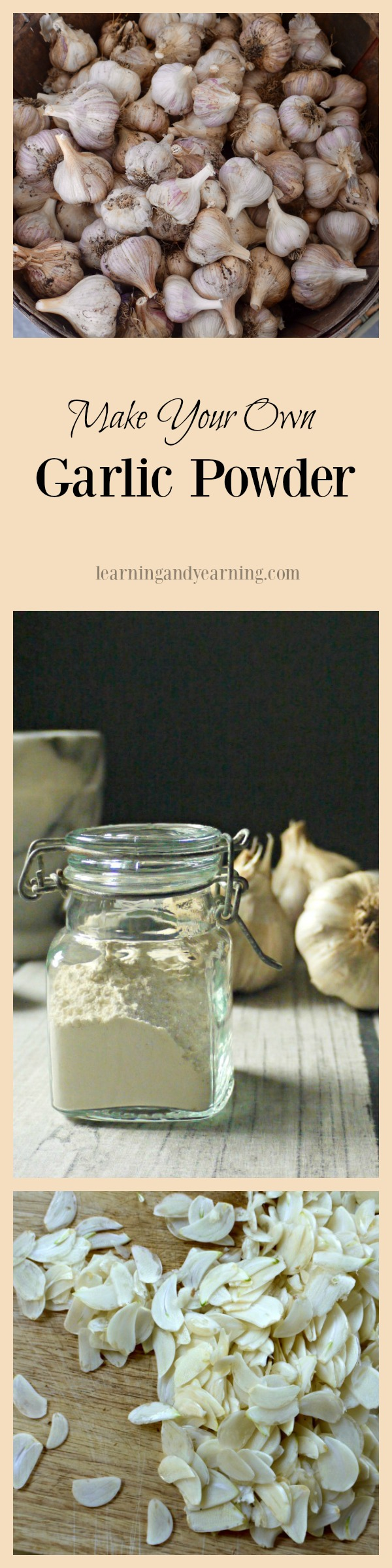 Making your own garlic powder is straight-forward and simple. It can be time consuming, but the right tools really help to make quick work of the task.