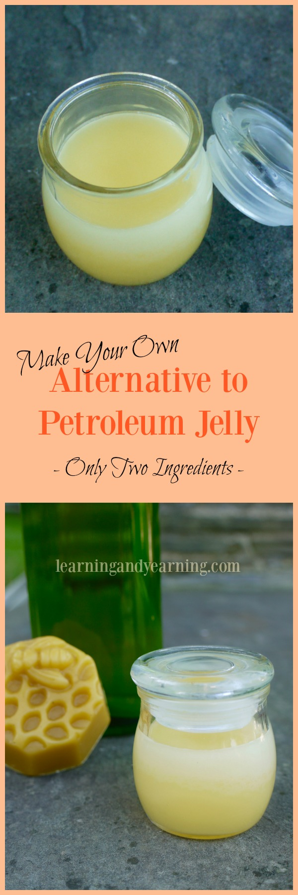 If you're looking for an alternative to petroleum jelly, it couldn't be easier to make your own. This simple recipe uses only two ingredients!