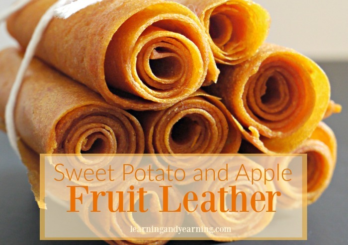 Fruit leather is a great treat that is simple to make. Vegetables can be added, too, like this sweet potato and apple combination!