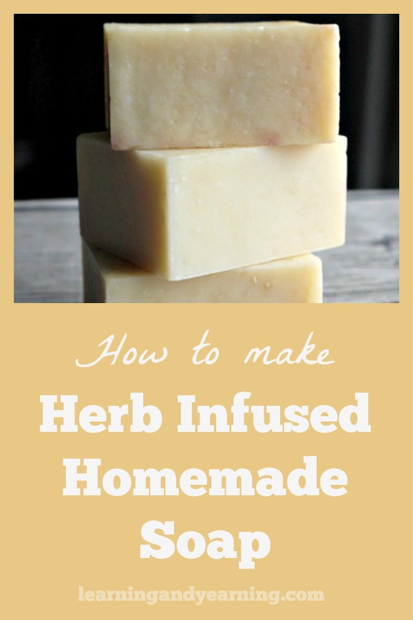 Herb infused homemade soap is so versatile. Depending on the herbs you use, it can soothe irritated skin, help to wake you up, or even help to put you to sleep! #natural #soapmaking #soap #herbs #herbalism