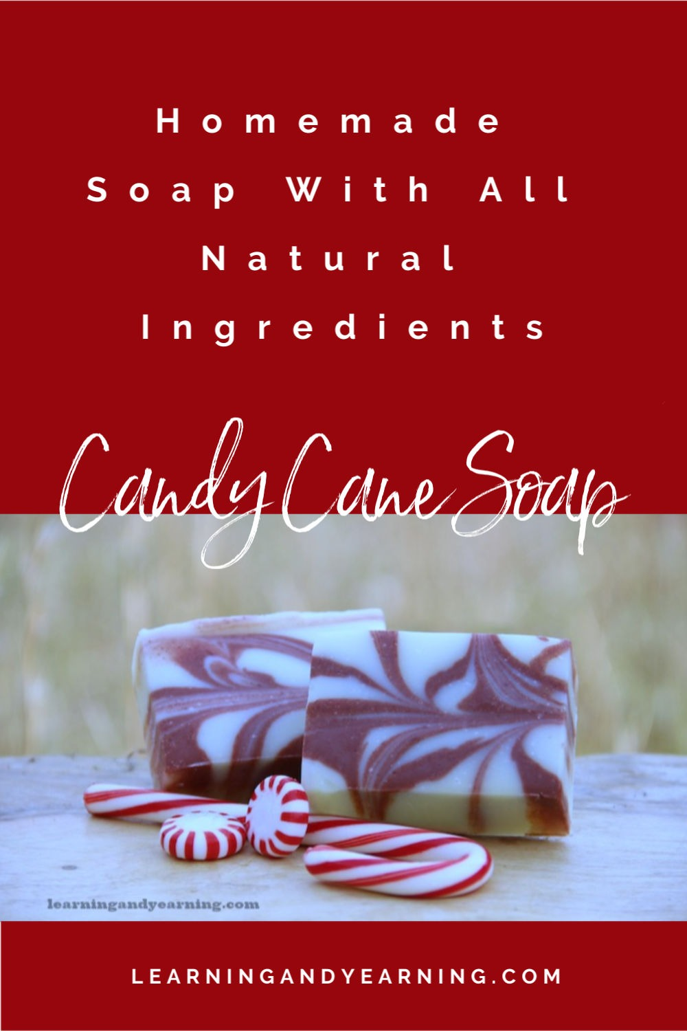 Homemade candy cane soap.