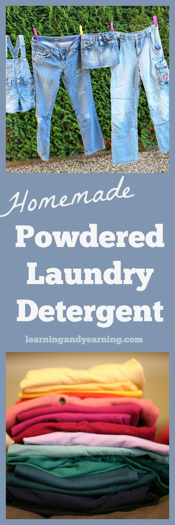 This homemade powdered laundry detergent is soap-and-borax-free, and uses