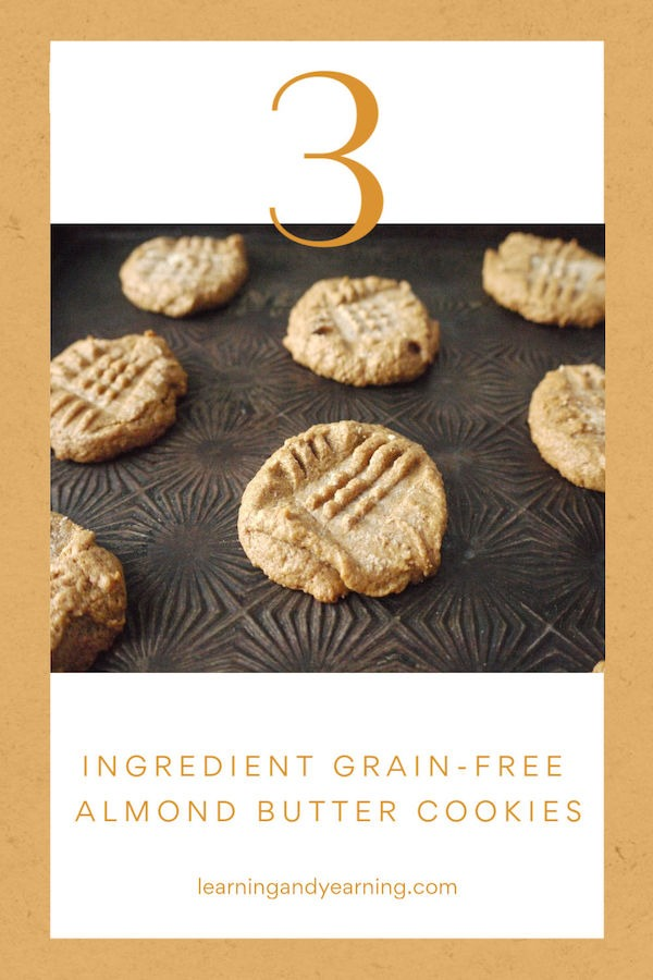 Sprouted almond butter cookies made with 3 ingredients!