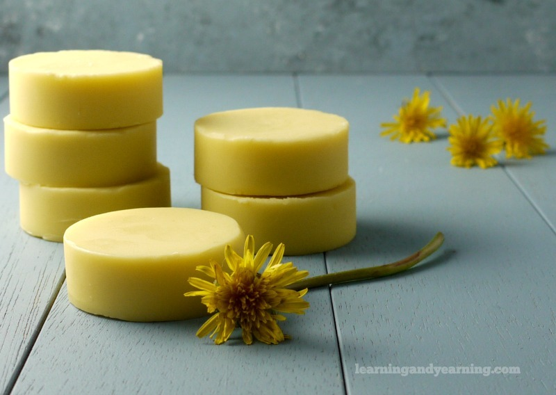 dandelion oil lotion bars for dry skin and muscle soreness