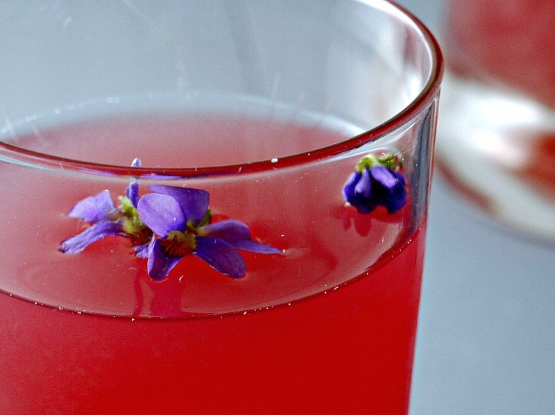 colorful homemade violet and dandelion lemonade