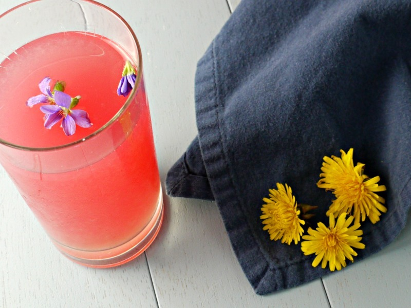 homemade violet and dandelion lemonade