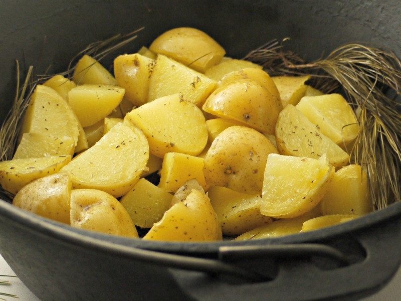 pine roasted potatoes from the oven