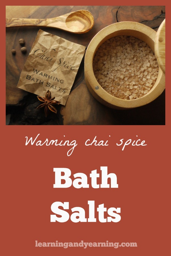 """Chai spices are warming not only when you consume them, but when you bath with them as well. So, the next time you are """"chilled to the bone,"""" warm yourself up with these chai spice bath salts. #skincare #natural #healthy #bathsalts #herbs"""