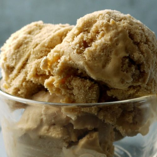 Homemade dandelion root coffee ice cream