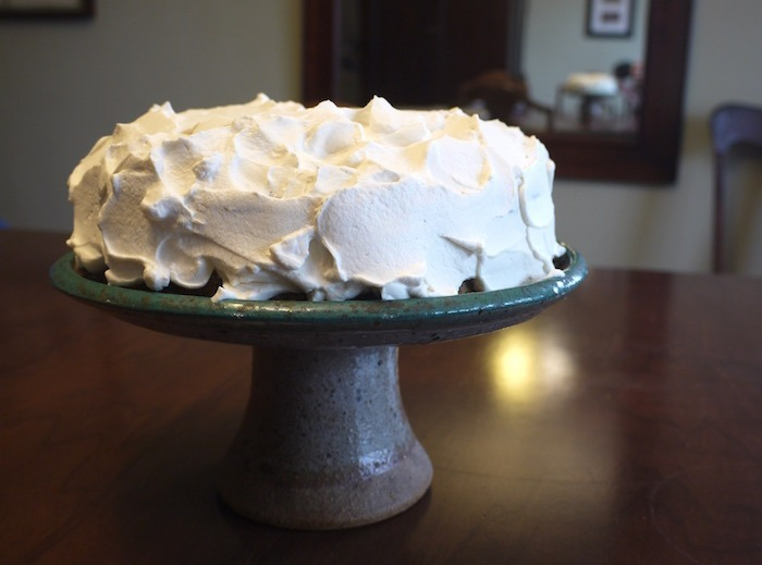 poppy seed cake with maple sweetened whipped cream